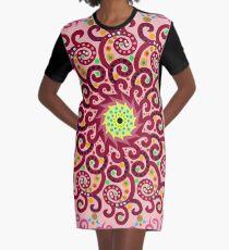Jellyfish Maroon mandala Graphic T-Shirt Dress