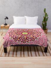 Jellyfish Maroon mandala Throw Blanket