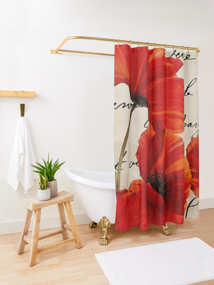 Alternate view of Coquelicots Rouge I Shower Curtain