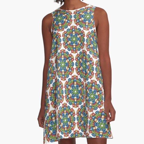 #Design, #pattern, #abstract, #art, illustration, shape, decoration, mosaic, square, futuristic, tile, modern A-Line Dress