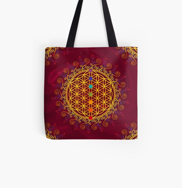 Blume des Lebens, Chakren, Yoga, Zen, Meditation Allover-Print Tote Bag