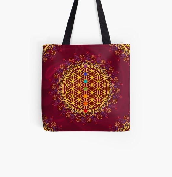 FLOWER OF LIFE, CHAKRAS, SPIRITUALITY, YOGA, ZEN,  All Over Print Tote Bag