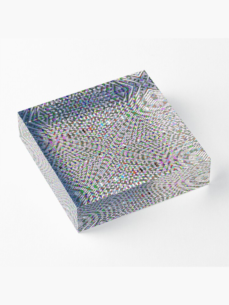 Alternate view of #Design, #pattern, #abstract, #art, illustration, shape, decoration, mosaic, square, futuristic, tile, modern Acrylic Block