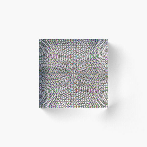 #Design, #pattern, #abstract, #art, illustration, shape, decoration, mosaic, square, futuristic, tile, modern Acrylic Block