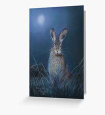 Hare in moonlight Greeting Card
