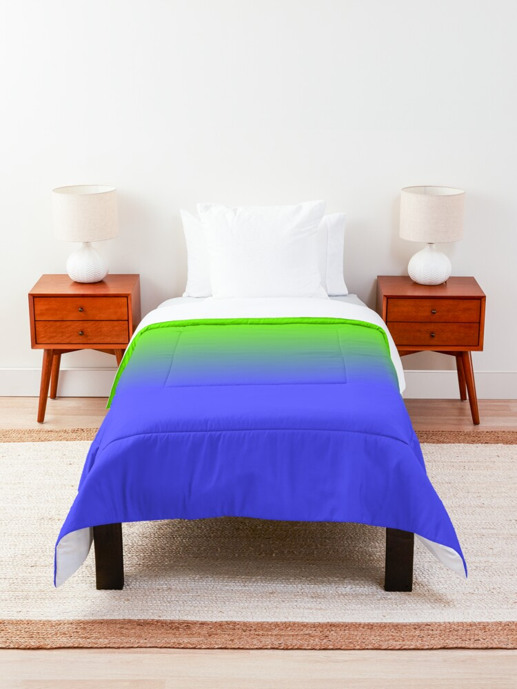 Alternate view of Neon Blue and Neon Green Ombré  Shade Color Fade Comforter