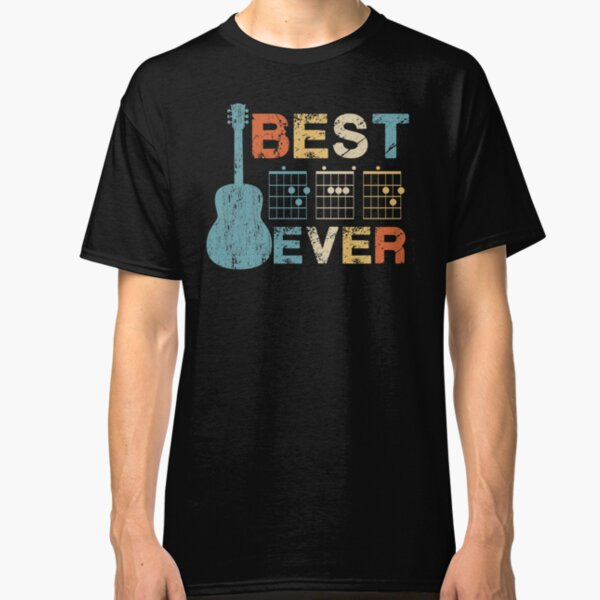 Best Dad Ever Guitar Chords Musician Funny Fathers Day Gift Idea Tshirt Classic T-Shirt