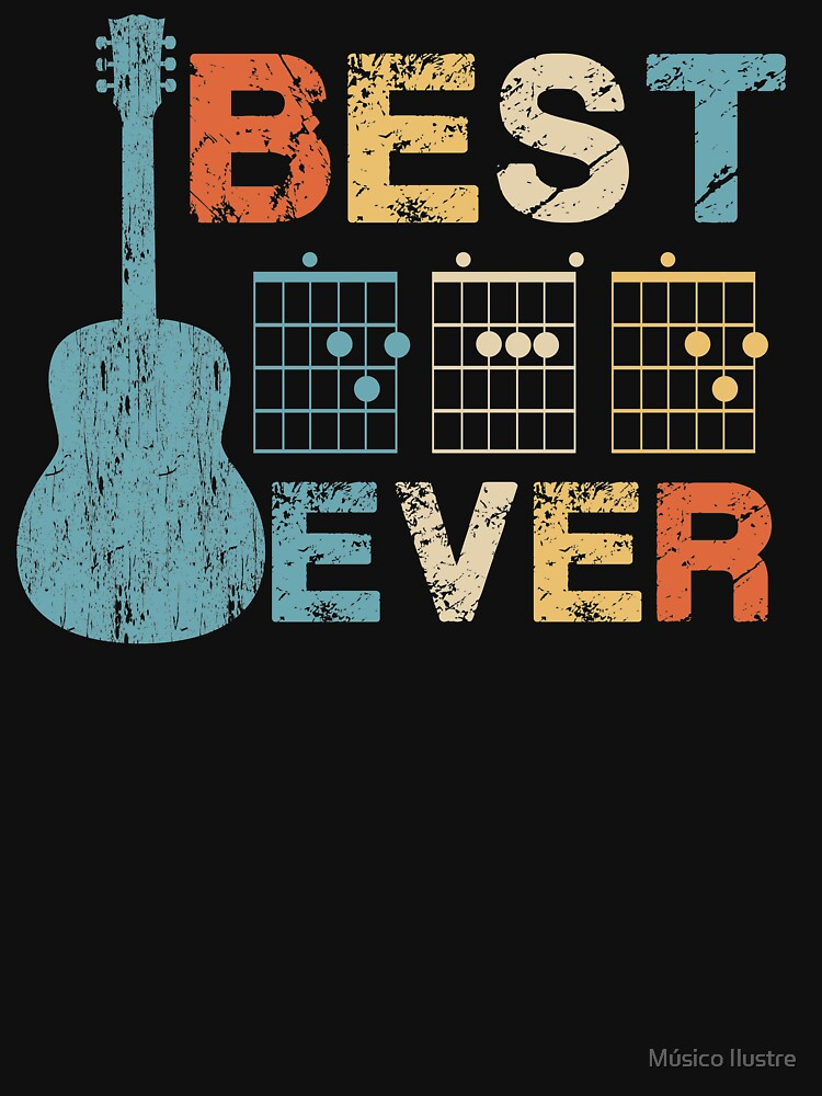 Best Dad Ever Guitar Chords Musician Funny Fathers Day Gift Idea Tshirt by dconciente