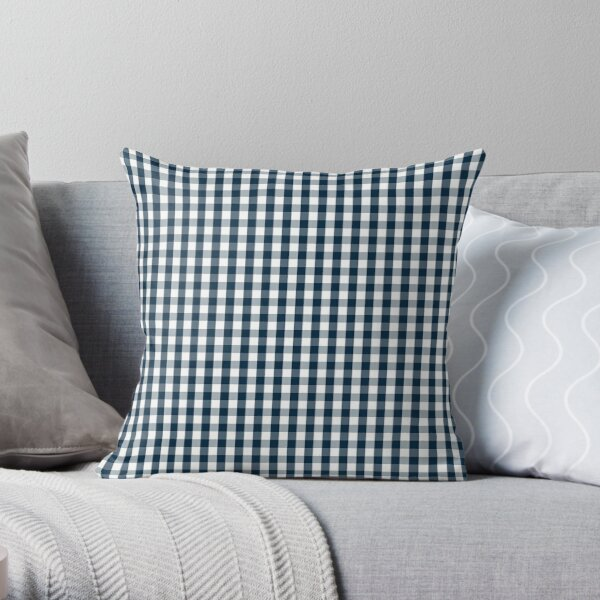 Silent Night Blue Christmas Large Gingham Check Throw Pillow