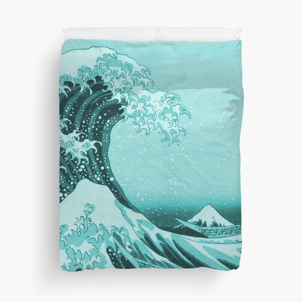 Aqua Blue Tsunami Japanese Great Wave off Kanagawa by Hokusai Duvet Cover