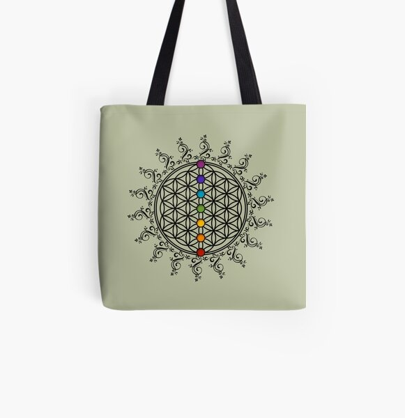 Blume des Lebens mit Regenbogen Chakras, Heilige Geometrie Allover-Print Tote Bag