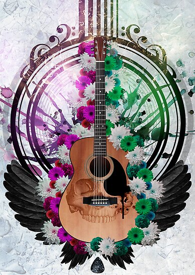 Acoustic Guitar framed amongst flowers, paint drips and wings  by Rob D Fisher