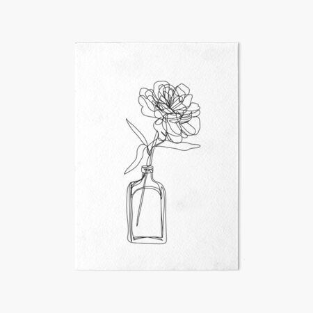 Black and white flower in vase - minimalistic Art Board Print