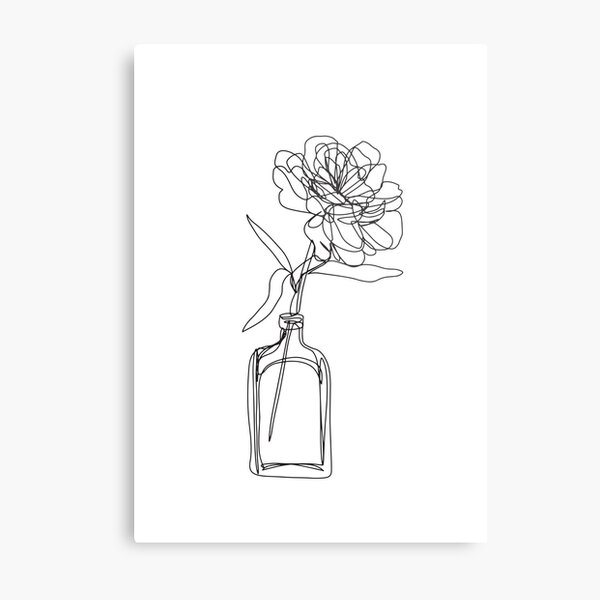 Black and white flower in vase - minimalistic Metal Print