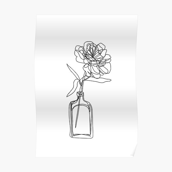 Black and white flower in vase - minimalistic Poster