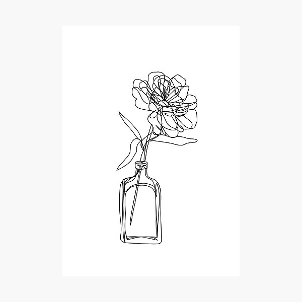Black and white flower in vase - minimalistic Photographic Print