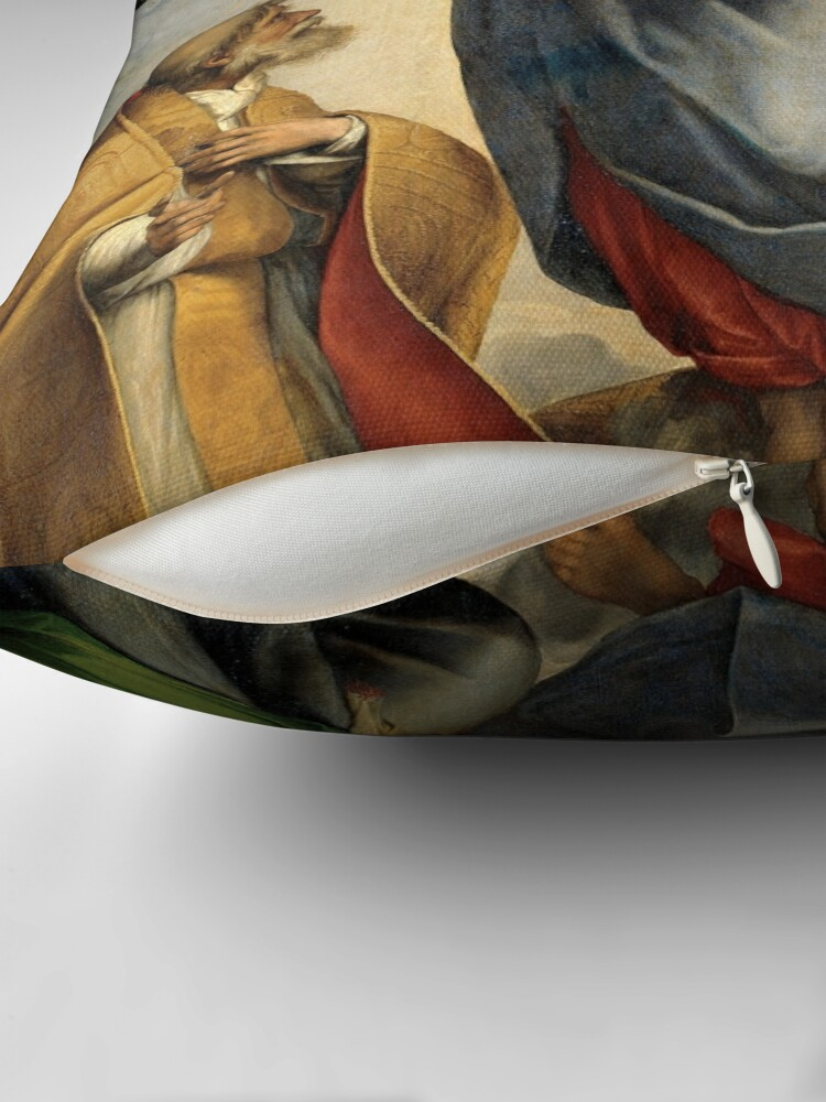 Alternate view of The Sistine Madonna Oil Painting by Raphael Throw Pillow