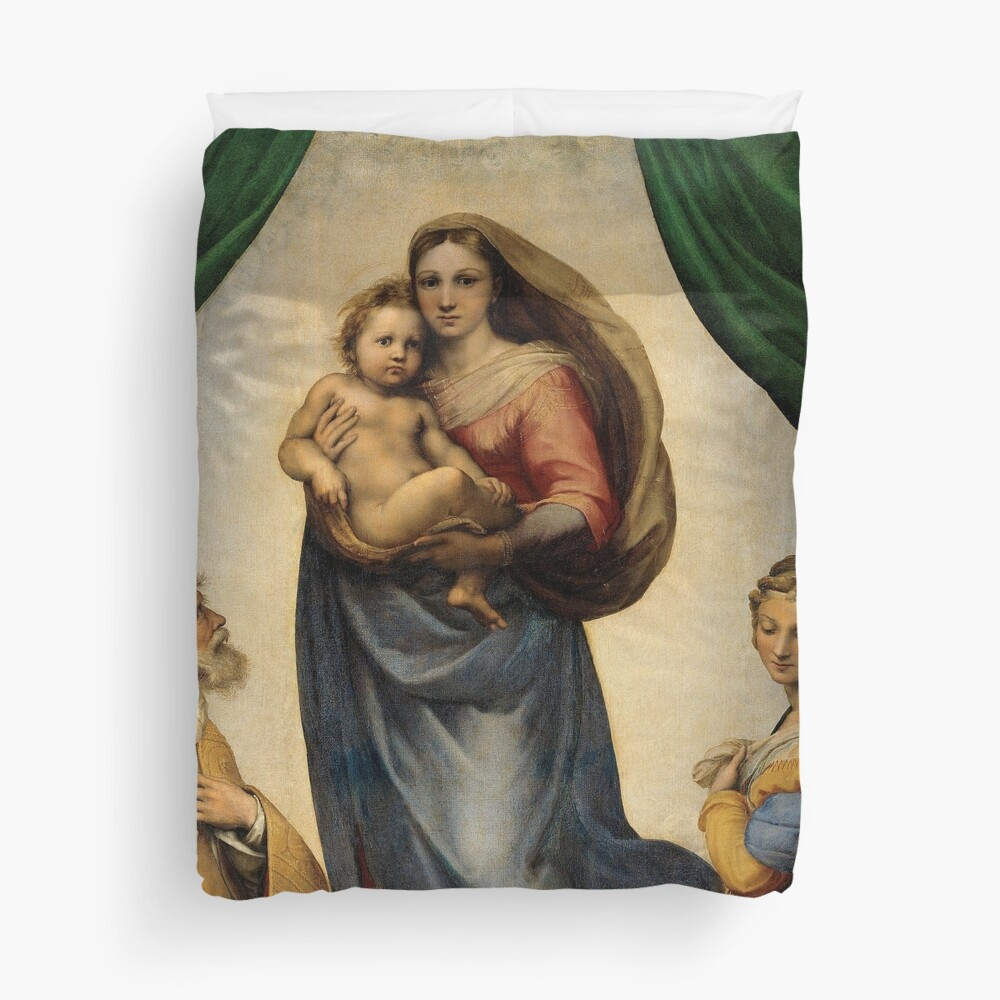 The Sistine Madonna Oil Painting by Raphael Duvet Cover