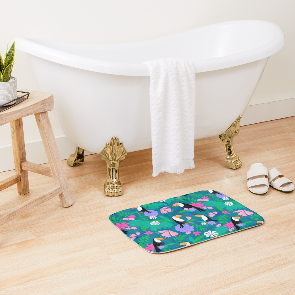 Tropical Toucan Jungle Bath Mat