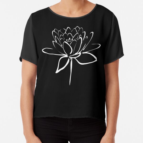 Lotus Flower Calligraphy (White) Chiffon Top