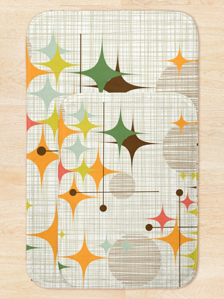 Alternate view of Eames Era Starbursts and Globes 3 (bkgrnd) Bath Mat