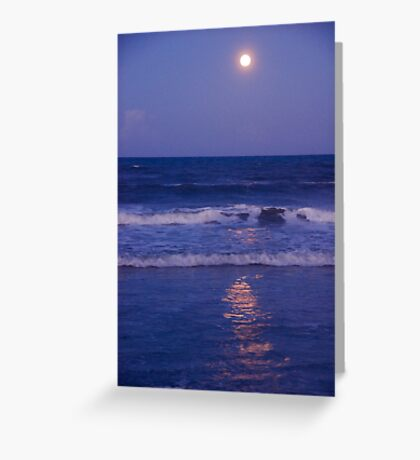 Full Moon over the Ocean Greeting Card