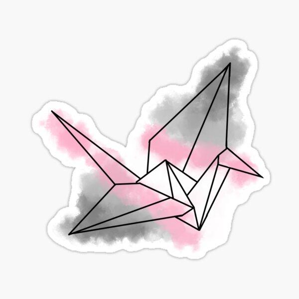 demigirl Pride Watercolour Origami Sticker