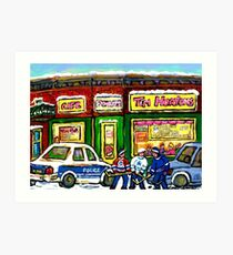HOCKEY GAME AT TIM HORTON'S MONTREAL WINTER CITY SCENE Art Print