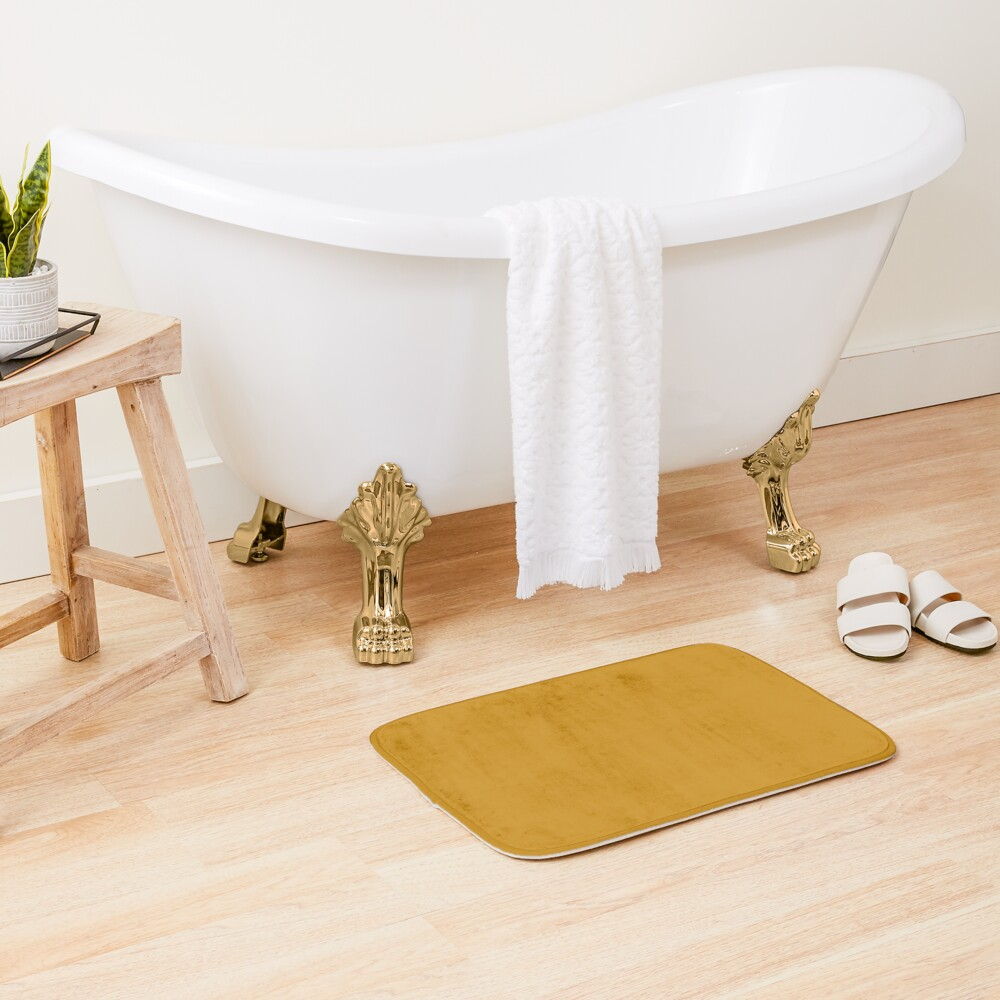 Best Seller Golden Mustard Yellow Solid Color Pairs with Sherwin Williams Auric Gold SW 6692 Bath Mat