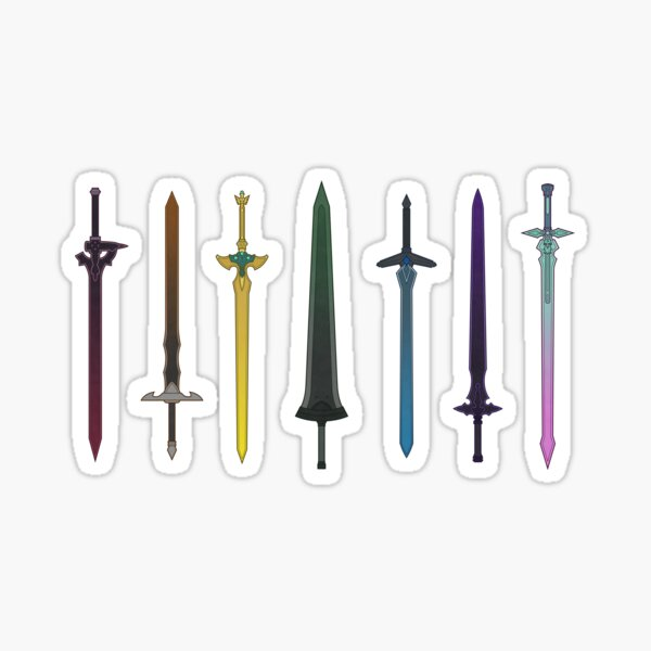 Sword Art Online Kirito's Swords Rainbow Sticker