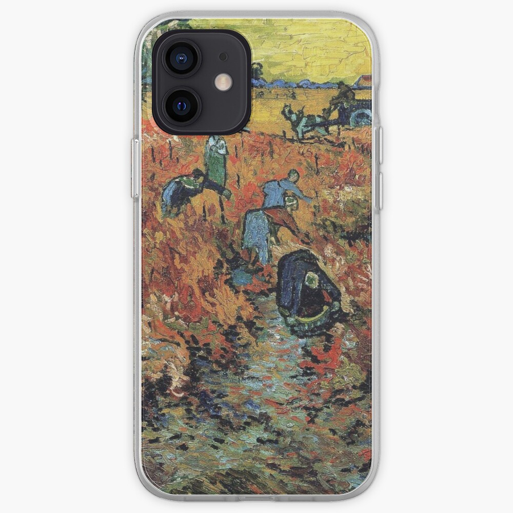 The Red Vineyards Oil Painting on Burlap by Vincent van Gogh iPhone Case & Cover