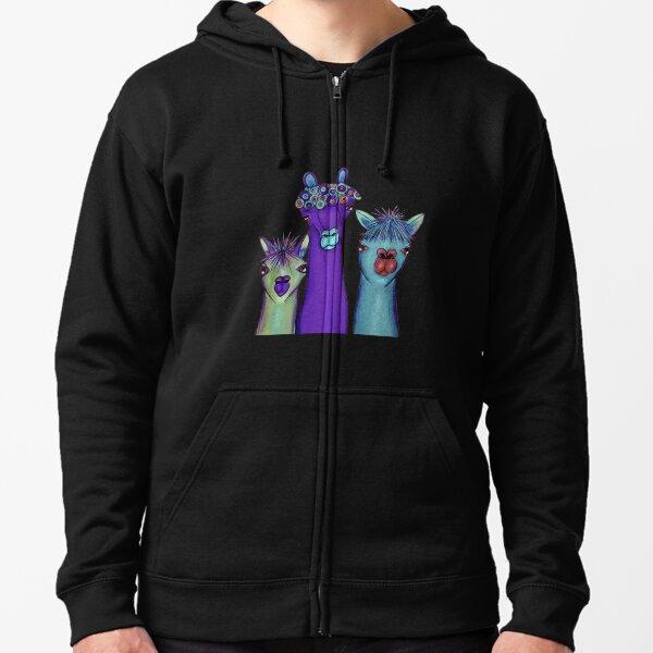 3 alpacas Zipped Hoodie