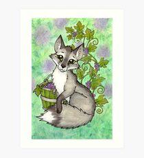 Fox and Grapes - Mixed Media Art Print