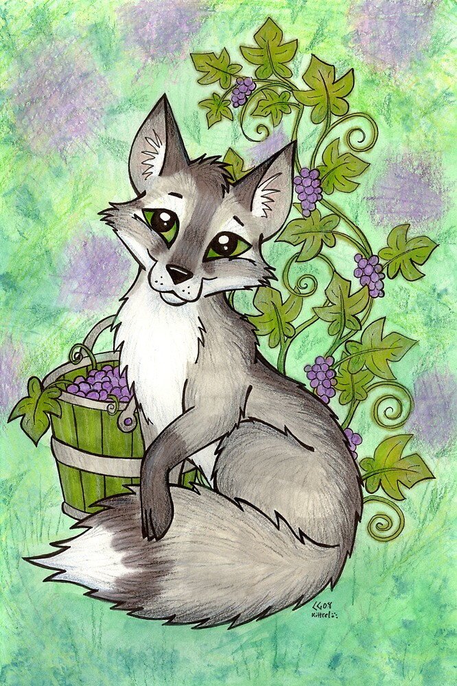 Fox and Grapes - Mixed Media by CGafford