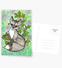 Fox and Grapes - Mixed Media Postcards