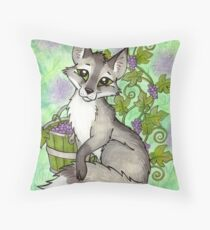 Fox and Grapes - Mixed Media Throw Pillow
