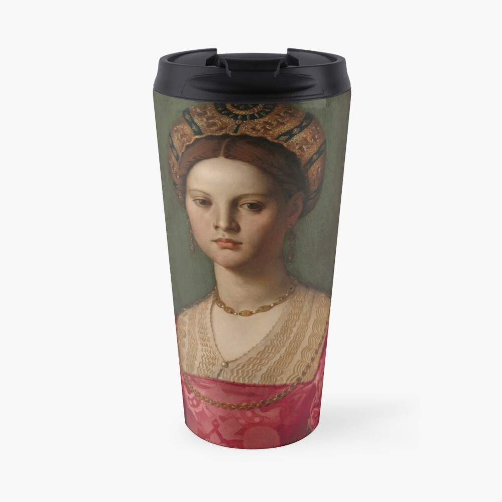 A Young Woman and Her Little Boy Oil Painting by Agnolo Bronzino Travel Mug