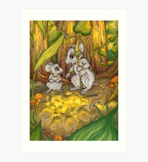 Hunting Lessons - Tribal Mice in the Jungle Art Print