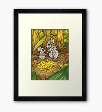 Hunting Lessons - Tribal Mice in the Jungle Framed Print