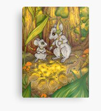 Hunting Lessons - Tribal Mice in the Jungle Metal Print