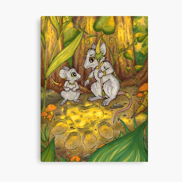 Hunting Lessons - Tribal Mice in the Jungle Canvas Print