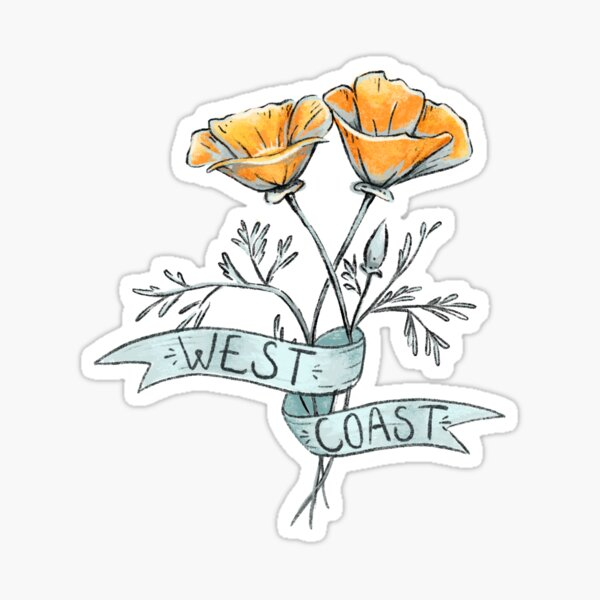 West Coast California Poppy Sticker