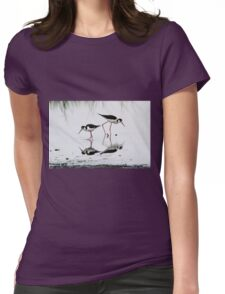 Black necked Stilts with reflection(My reflection is better than yours!) Womens Fitted T-Shirt