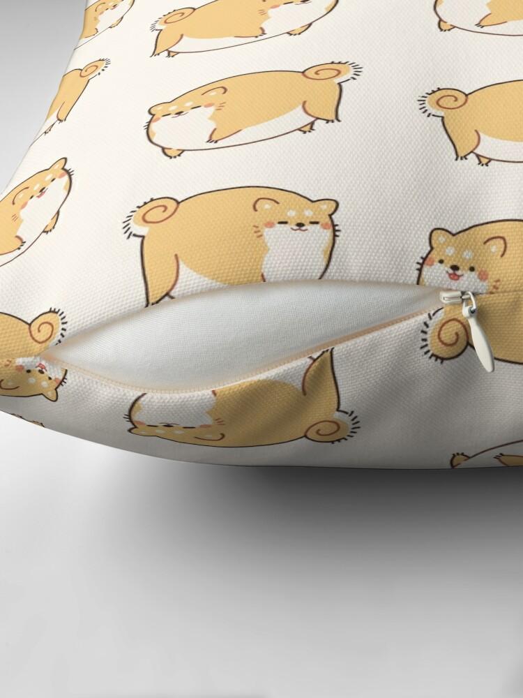 Alternate view of Round Shibes ! Throw Pillow