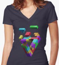 Penrose Tetris Women's Fitted V-Neck T-Shirt