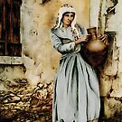 Water carrier - coloured drawing by talesofcyprus