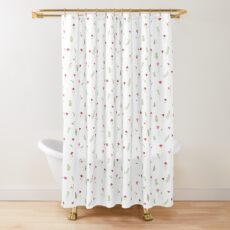 Flower and Leaf Pattern Shower Curtain