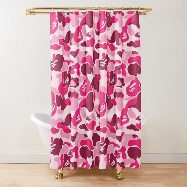 Pink Bape Camo Shower Curtain