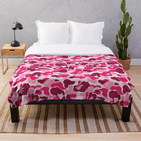 Pink Bape Camo Throw Blanket