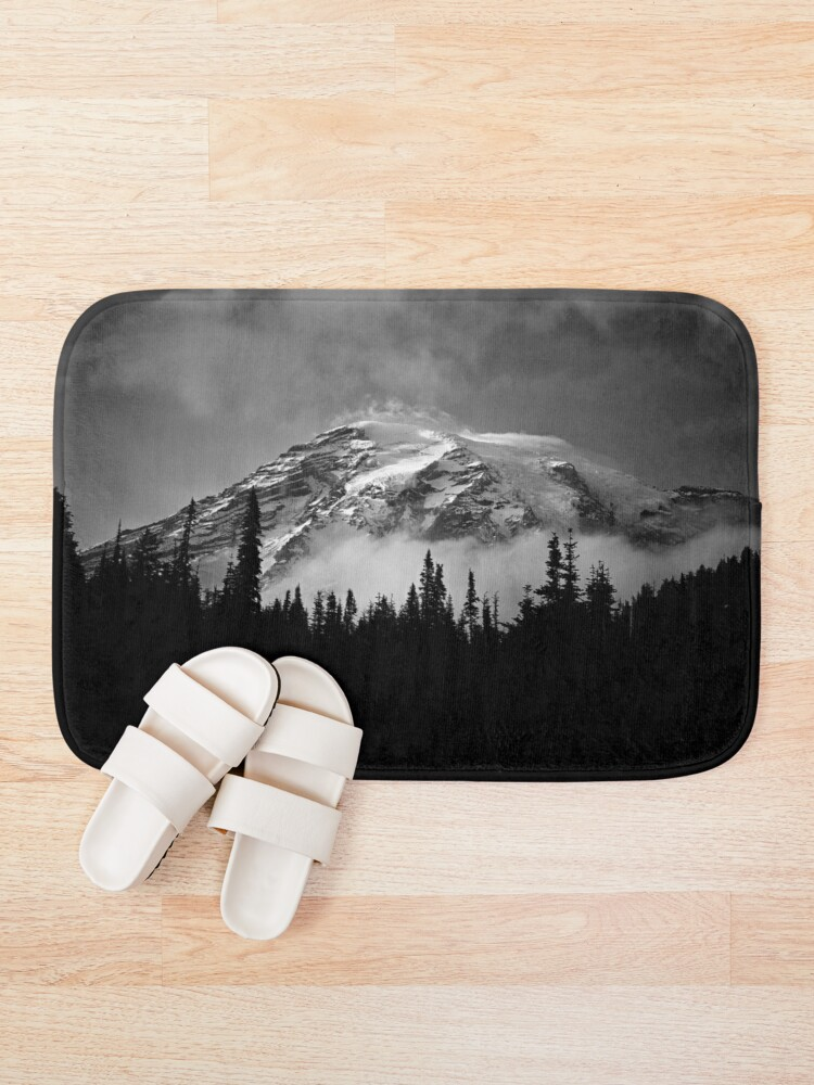 Alternate view of landscape black and white Bath Mat